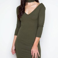 Girl Talk Choker Dress - Olive