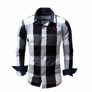 2018 spring new men's plaid shirt 100% cotton Business Fashion Casual Long-sleeved shirt Dress Shirts Brand clothes