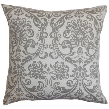 The Pillow Collection P18-PP-ABIGAIL-STORM-C100 Saskia Gray 18 x 18 Patterned Throw Pillow
