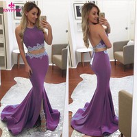 New Arrive Purple Long Prom Dress 2017 for Girl Two Piece Front Slit Stretch Satin Off the Shoulder Halter Mermaid Prom Dresses