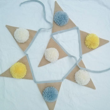 Gerty Brown for Collected | Bunting Pom Pom Cream, Yellow & Lavender