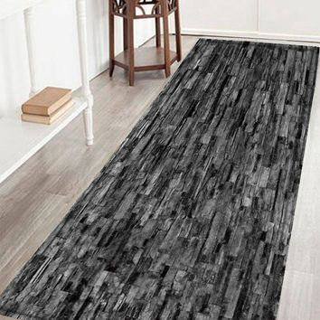 Brick Wall Print Crystal Velvet Fabric Bathroom Rug