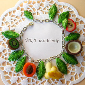 Cute fruit with leafs charm bracelet by VIRAhandmade on Etsy