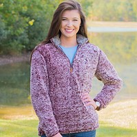 Heathered Quarter Zip Sherpa Pullover in Sassafras Red by The Southern Shirt Co. - FINAL SALE
