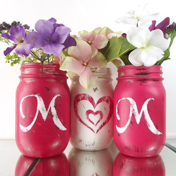MOM, set of three (3), Hand Painted Mason Jars | Rustic, Home Decor - Red and White Painted Mason Jars