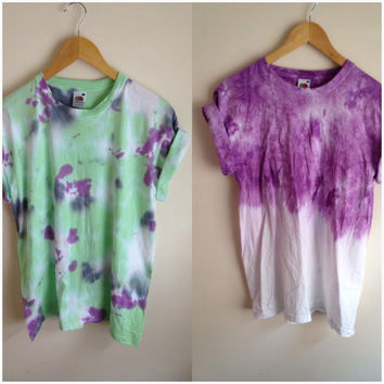 Tie Dye T-shirt Purple Dip Dye + Vibrant Green, Purple & Grey
