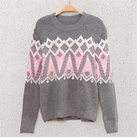Grey Ice Cream Print Knit Sweatshirt