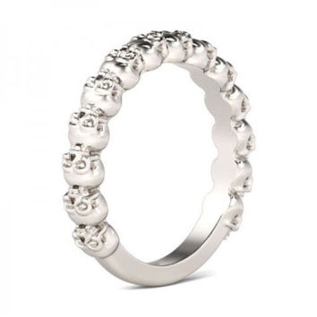 Gothic 925 Silver Skull Friendship Band Ring - Various Sizes Available
