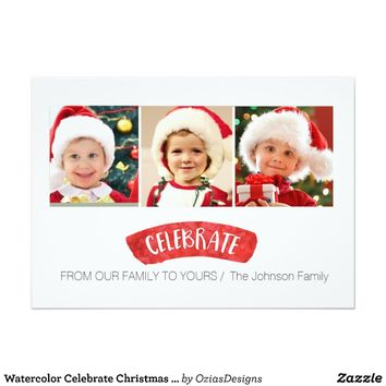 Watercolor Celebrate Christmas Holiday Photo Card