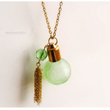 miniature glass bottle necklace for perfume aromatherapy essential oils herbs round faceted bead tassel art deco : out in the garden green