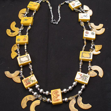 Southwestern Sterling Bakalite Citrine Kachina Charm Double Strand Squash Necklace and Sterling Chandelier Earrings Set