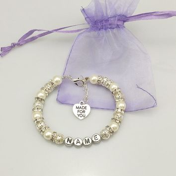 New name Personalised Girl baby Birthday Christmas Gift Charm Bracelet white with bag