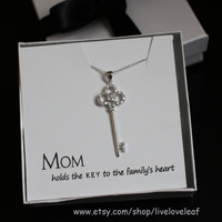 Sterling Silver Key Necklace cz - Cubic Zirconia encrusted Key Pendant - Key jewelry, Mother's Day gift ideas, MOM holds the key to my heart