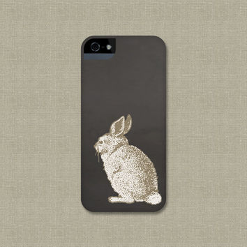 Bunny iPhone 5 Case, Woodland Rabbit iPhone 4 Case, Gray and Taupe Galaxy S3 / S4, or iPod Touch Cover, Floral iPhone 4S Case, iPhone 5S