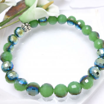 Green Black Blue AB Round Faceted Crystal Stretch Bracelet 8 inch