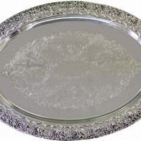 """Silver Plated Tray, 24.5"""" X 15"""""""