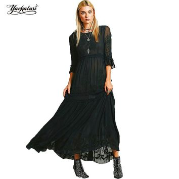 YACKALASI Women Dress Bohemian Vintage Vestido Ethnic Flower Embroidered Casual Long Dress Hippie Boho People High Low