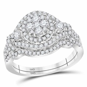 14kt White Gold Womens Round Diamond Cluster Bridal Wedding Engagement Ring Band Set 1.00 Cttw - FREE Shipping (US/CAN)