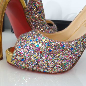 CHRISTIAN LOUBOUTIN Shoes Signed Multi-Color Glitter Leather NO PRIVE Slingbacks
