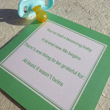 New baby card, funny and slightly tongue in cheek new baby greeting card guaranteed to get a laugh at the baby shower, unique adult humor