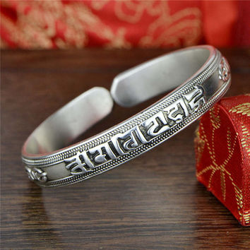 OM MANI PAD ME HUM Silver Antiqued Open Cuff Tibetan Mantras Bangle