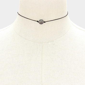Grey Cats Eye Pearl Black Genuine Leather Cord Choker Necklace 336103