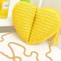 Chic Plastic Plaid Embellished Heart-shaped Shoulder Bag, Chain Cross Body Bag BG0337
