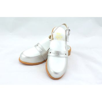 Michelle silver masculine penny ball flats