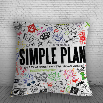 Simple Plan Get Your Heart On Pillow, Pillow Case, Pillow Cover, 16 x 16 Inch One Side, 16 x 16 Inch Two Side, 18 x 18 Inch One Side, 18 x 18 Inch Two Side, 20 x 20 Inch One Side, 20 x 20 Inch Two Side