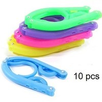 Elife 10 pcs Plastic Foldable Travel Home Clothes Hanger with Anti-slip Grooves (10 assorted color)