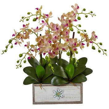 Artificial Flowers -Phalaenopsis Orchid Arrangement In Decorative Wood Vase