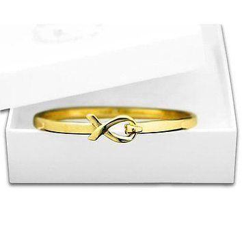 Cancer Awareness Elegant Gold Ribbon Bangle Bracelet with a Gift Box