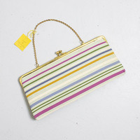 Vintage 1960s Purse - Striped Fabric Gold Frame & Chain Chain Cocktail Clutch Bag