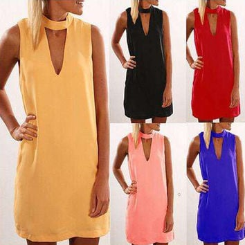 Summer Women's Fashion V-neck Sleeveless One Piece Dress [6343425409]