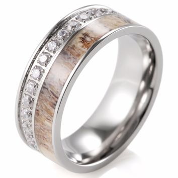 8mm Men's Outdoor Antler Ring Pure Titanium Eternity Band Ring with 30 CZ Stones