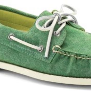 Sperry Top-Sider Authentic Original Stonewashed Boat Shoe Green, Size 7.5M  Men's Shoes