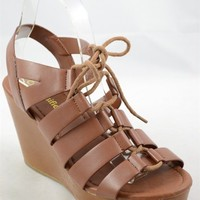 Lace Up Wedge Sandal - Dark Tan