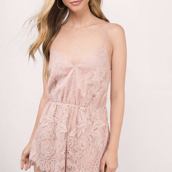 Leslie Lace Cross Back Romper