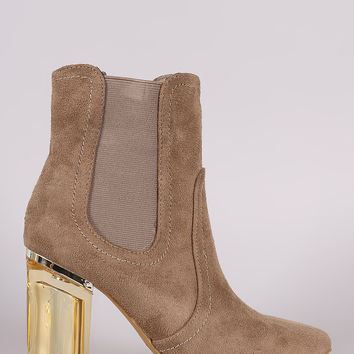 Suede Elastic Gore Chunky Lucite Heeled Ankle Boots