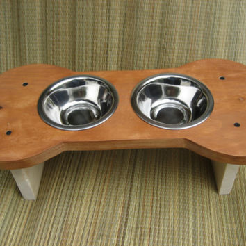 Raised Bone Dog Bowl, Dog Dish, Feeder,Give a Dog a Bone, Handmade, 'The Big Bone'