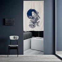 "Japanese Noren Doorway Curtain Tapestry 33.5"" Width x 47.2"" Long, Carp Jump"