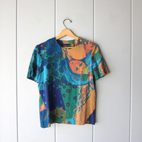 90s Rayon Boxy Top Abstract Print Blouse Short Sleeve TShirt Abstract Print Floral Tee Orange Blue Boho Hipster Vintage Top Womens Medium