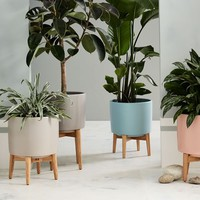 Mid-Century Turned Leg Standing Planters - Matte