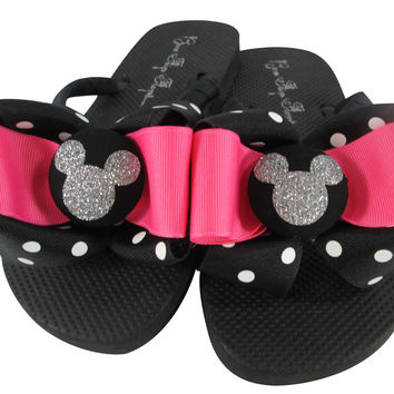 Disney Flip Flops with Hot Pink, Black & Glitter Bling Mickey