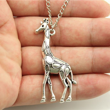 WYSIWYG  fashion simple antique silver tone Giraffe pendant necklace , 70cm chain long necklace