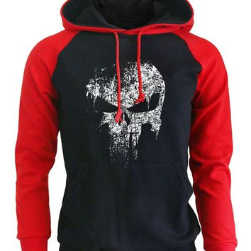Punisher Skull Hipster Hoodies Fleece Raglan Hoodie Men's Sportswear Punk