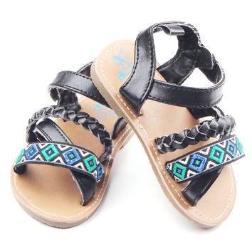 New Arrival Rubber Sole Leather Baby Girl Sandals Ourdoor Toddler Sandals 0-18M