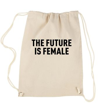 The Future Is Female Feminism (Black Print)  Drawstring Backpack