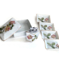 Vintage Porcelain Cigarette Box, Lighter and Set of Four Matching Astrays, White With Roses, 3 Piece Set, Tobacciana, Pink Shabby Chic