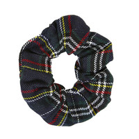 School Girl Plaid Scrunchie - Green